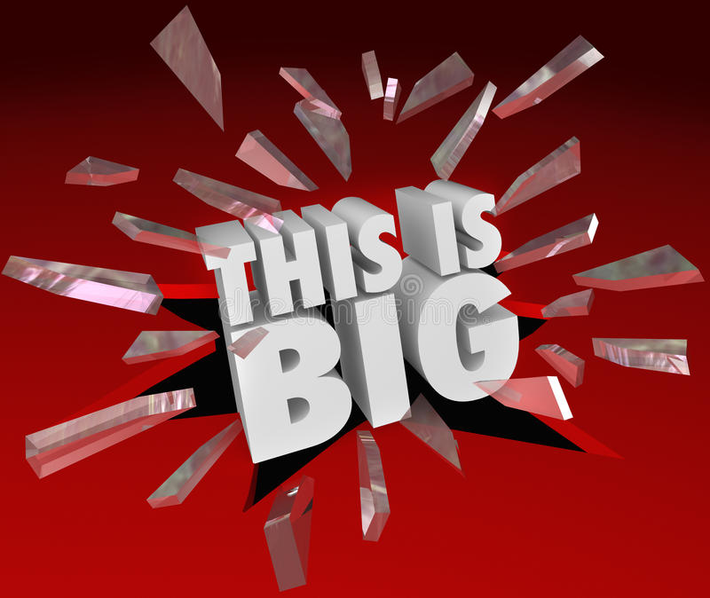 This is Big Announcement Words Breaking Through Glass royalty free illustration