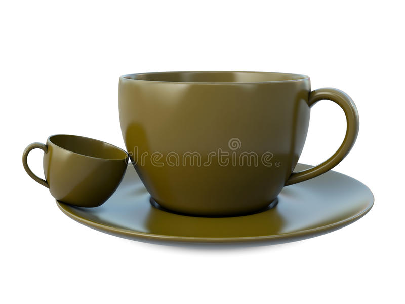 Download Big ans small coffee cups stock illustration. Illustration of white - 25010526