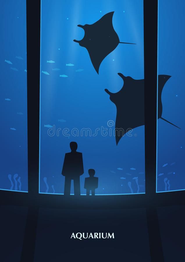 Big Aquarium or Oceanarium With crampfish. People with children watching the underwater world. Big Aquarium or Oceanarium With crampfish. People with children stock illustration