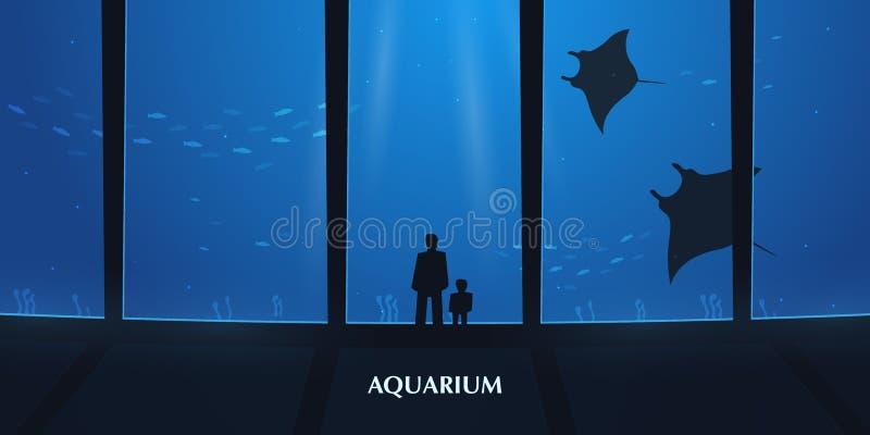 Big Aquarium or Oceanarium With crampfish. People with children watching the underwater world. Big Aquarium or Oceanarium With crampfish. People with children vector illustration