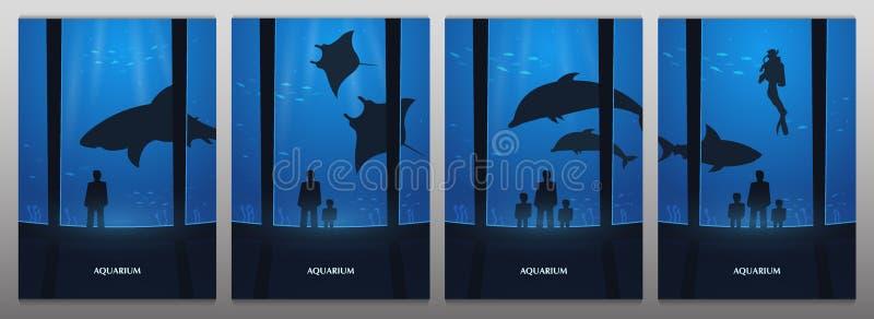Big Aquarium, Oceanarium or Dolphinarium With dolphin, shark and crampfish. People with children watching the underwater. World stock illustration