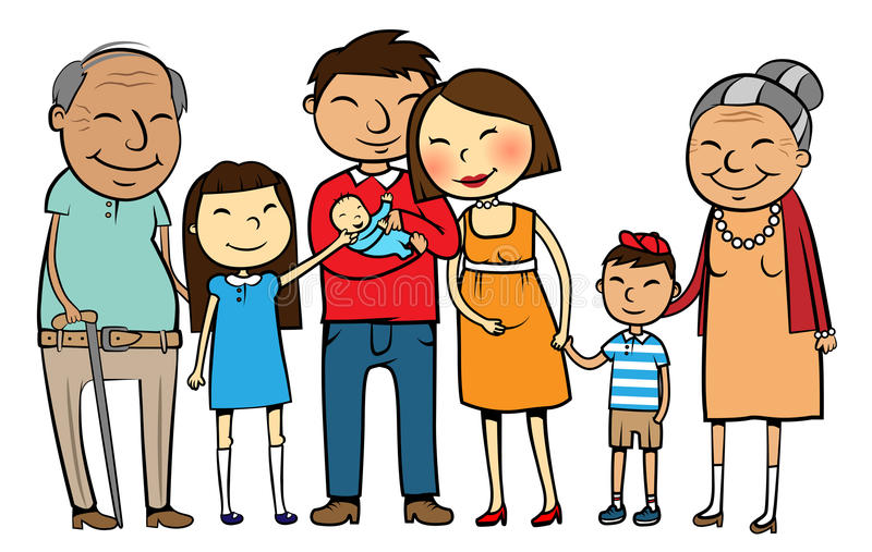 Big Asian family. Cartoon vector illustration of a large Asian family with parents, children and grandparents royalty free illustration