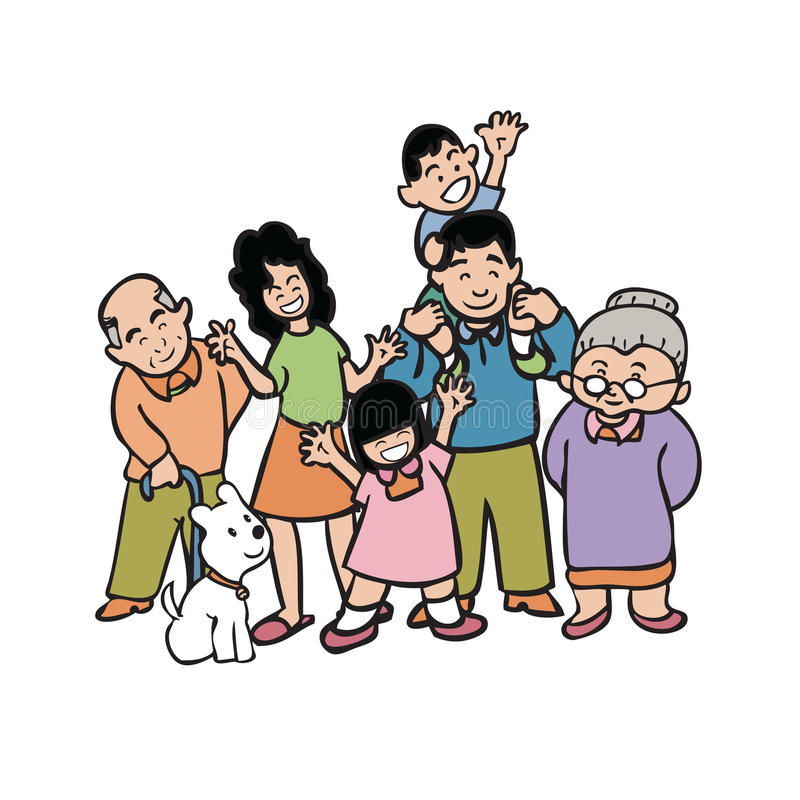 Big Asian family. Cartoon character of big warm family stock illustration