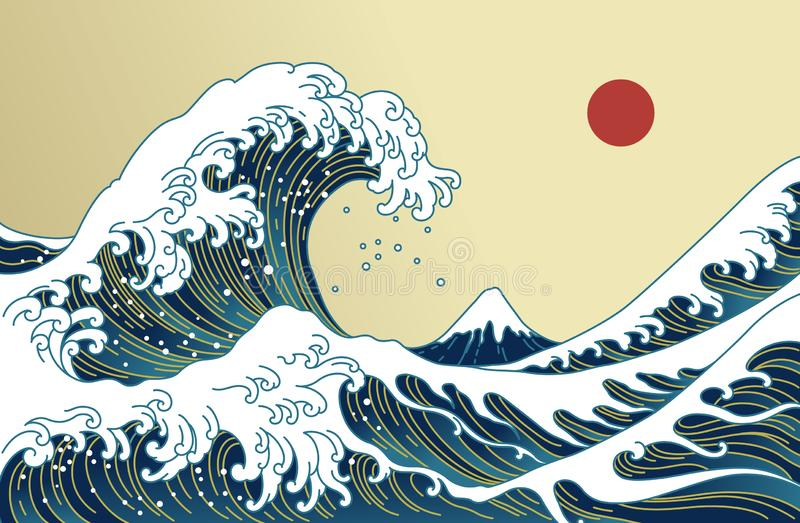 Japan great wave vector illustration. Golden line. Big Asian ocean wave, red sun and the mountain illustration. Golden color tones. Ocean of Kanagawa stock illustration