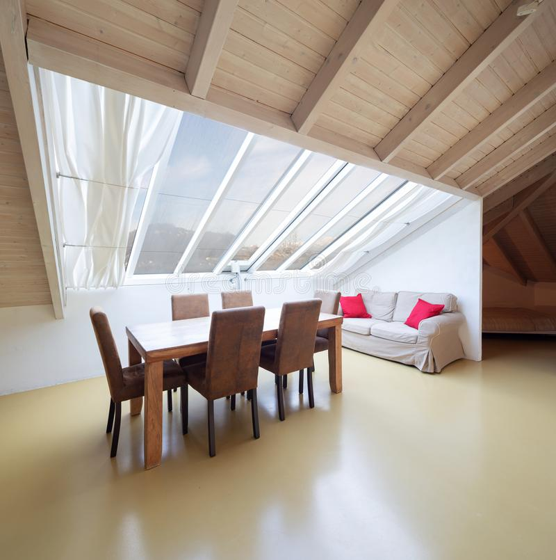 Small Loft Furnished, Bedroom Stock Image