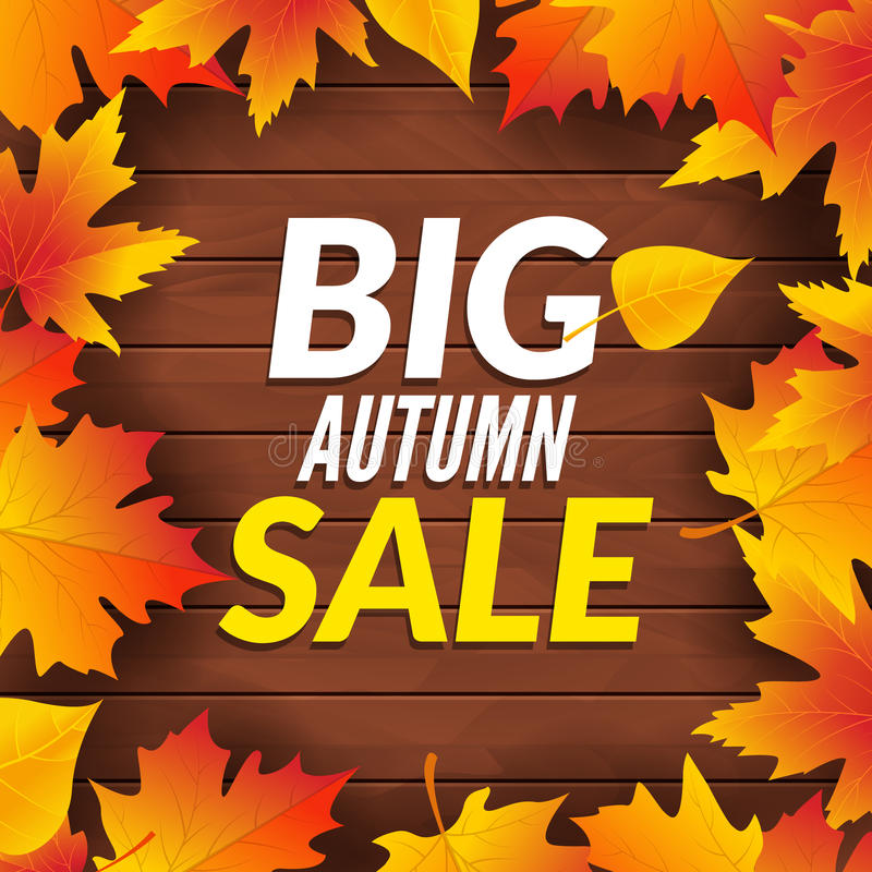 Big autumn sale design template poster. Fall promotional flyer. Autumn Discounts offers design with leaves on wooden. Background stock illustration