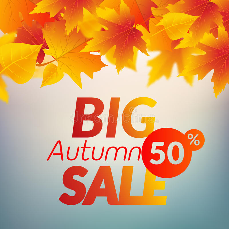Big autumn sale design template poster. Fall promotional flyer. Autumn 50 percents off discount offer design with leaves.  royalty free illustration