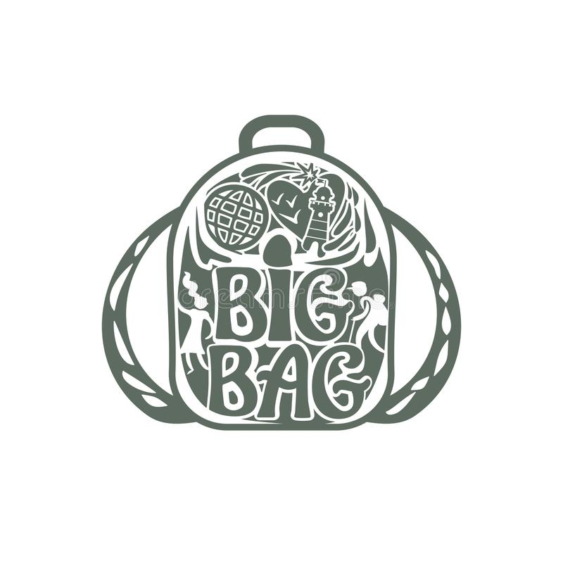 Big Bag. Silhouette of a backpack with an inscription, figures of the guy and the girl, a beacon and a globe on a cover of a bag. royalty free illustration