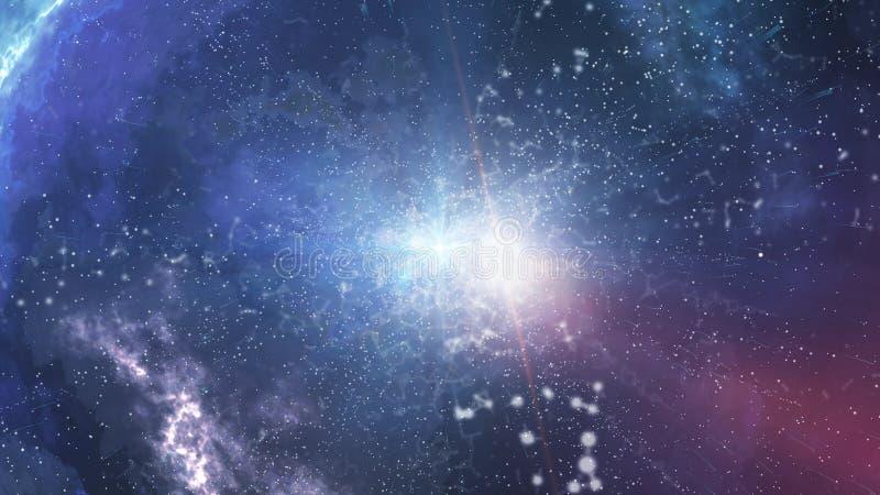 Big Bang con la luce sfocata di esplosione nel centro royalty illustrazione gratis