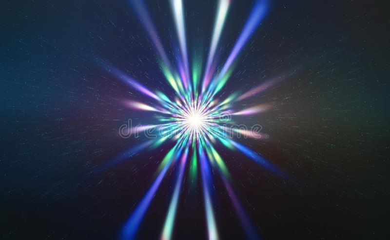 Big bang in the universe. Birth of a supernova. Flash of light on the background of cosmic particles stock photography