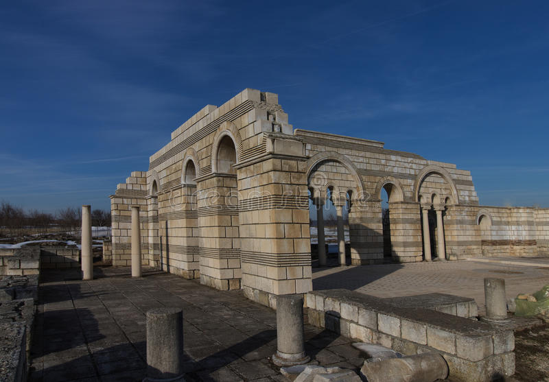 Big Basilica in Pliska. Bulgaria`s ancient capital city of Pliska. The largest Christian cathedral in the medieval Southeastern Europe. The complex is an stock photography