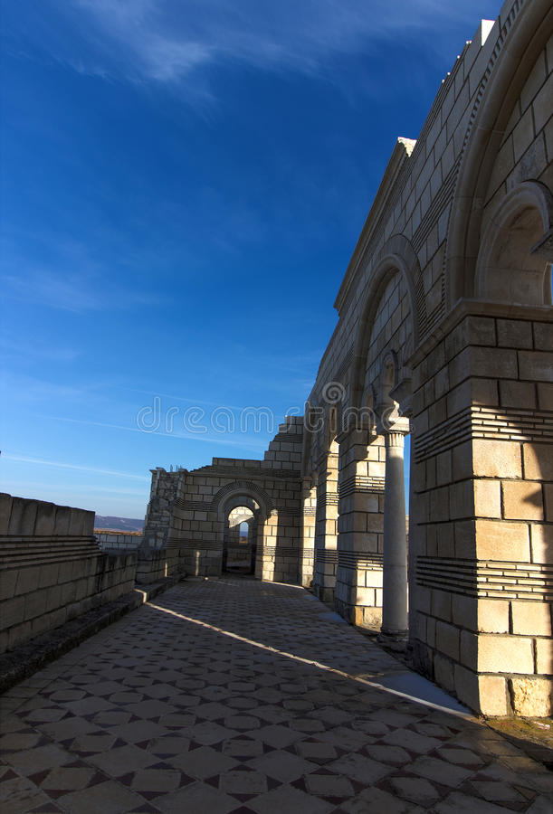 Big Basilica in Pliska. Bulgaria`s ancient capital city of Pliska. The largest Christian cathedral in the medieval Southeastern Europe. The complex is an stock image