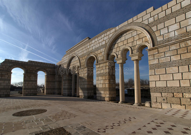 Big Basilica in Pliska. Bulgaria`s ancient capital city of Pliska. The largest Christian cathedral in the medieval Southeastern Europe. The complex is an royalty free stock photo