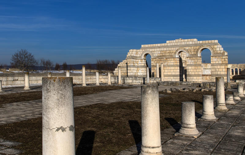 Big Basilica in Pliska. Bulgaria`s ancient capital city of Pliska. The largest Christian cathedral in the medieval Southeastern Europe. The complex is an stock photos