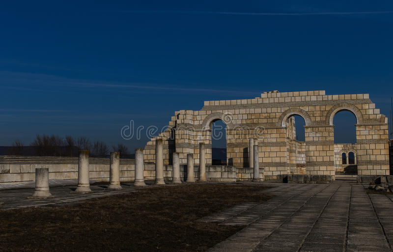 Big Basilica in Pliska. Bulgaria`s ancient capital city of Pliska. The largest Christian cathedral in the medieval Southeastern Europe. The complex is an royalty free stock photos