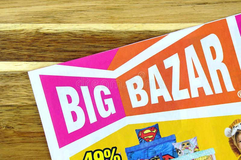 Big Bazar sales flyer. Amsterdam, The Netherlands - February 10, 2019: Goods store sale flyer or advertising brochure, of Dutch retail chain Big Bazar, against a royalty free stock images