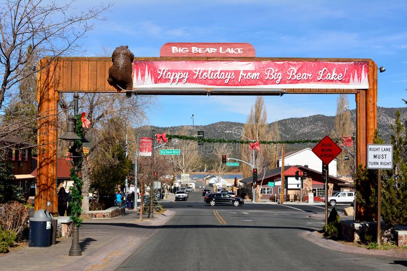 Pine Knot Avenue in Big Bear Lake, California. Big Bear Lake, California, United States of America - December 2, 2017. View of main street, Pine Knot Avenue, in stock image