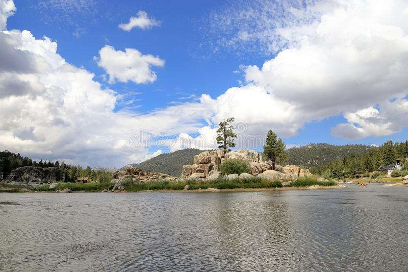 Big Bear lake. Fun afternoon at Boulder Bay park, Big Bear Lake California royalty free stock photos
