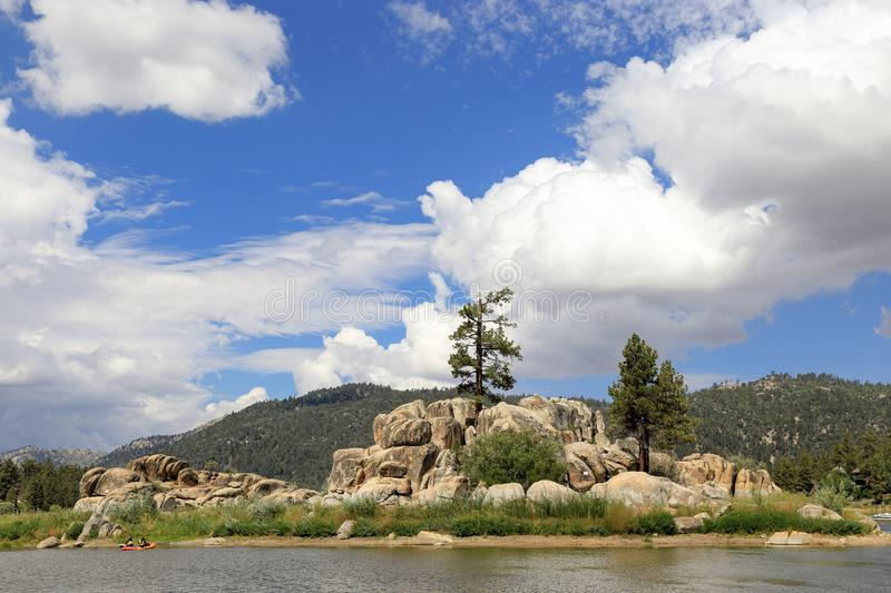 Big Bear lake. Fun afternoon at Boulder Bay park, Big Bear Lake California stock photography