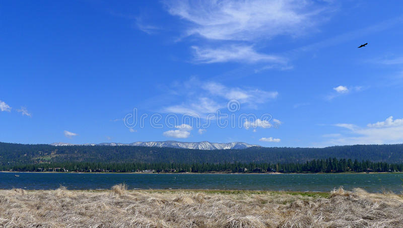 Big Bear Lake. Is a small city in San Bernardino County, California, located in the San Bernardino Mountains along the south shore of , and surrounded by the stock photos