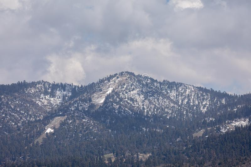 Big Bear Mountains covered with snow. Mountains covered with snow Big Bear Mountain, San Bernardino, California stock photography