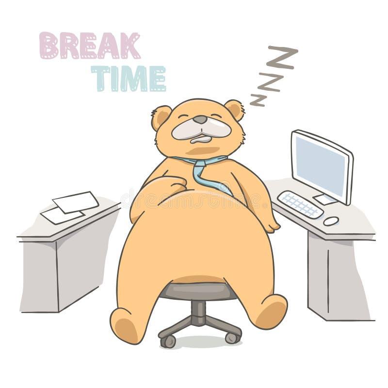 Big Bear que dorme em uma cadeira no lugar de funcionamento ilustração royalty free