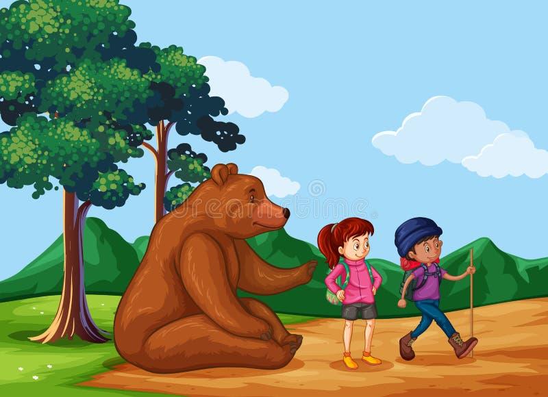Big Bear que sentam-se na terra e os povos vão caminhar ilustração royalty free