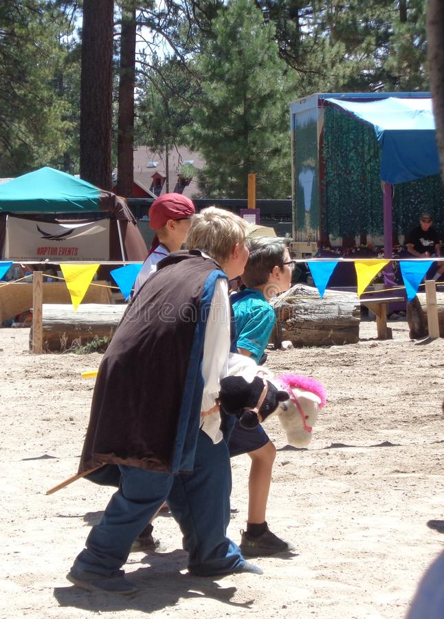 Big Bear Renaissance Faire -  Children`s Hobby Horse Race royalty free stock photos
