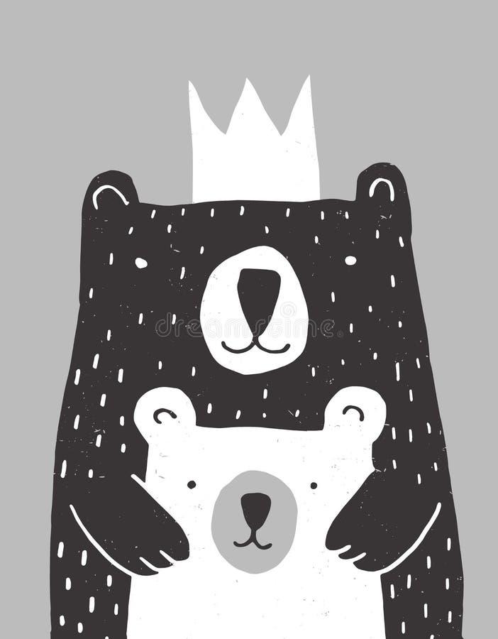 Big Bear tirée par la main mignonne et petite illustration de vecteur d'ours de bébé illustration de vecteur
