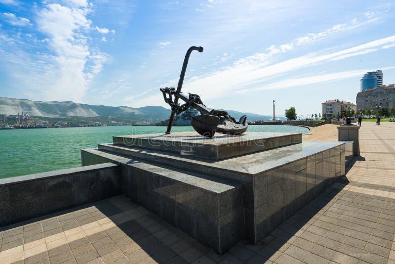 Big beautiful anchor quay Admiral Serebryakov city Novorossiysk, Krasnodar region, Russia. Summer, Sunny day. Port city. Large, black anchor on the embankment stock images