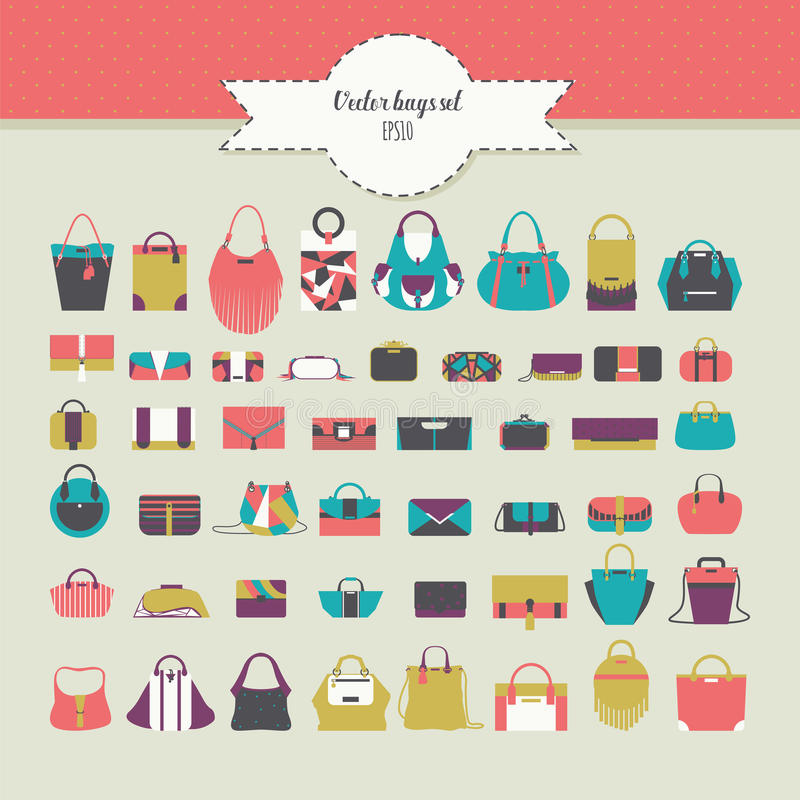 Big beautiful bundle with flat women bags in different design - handbag, clutch, purse, rucksack and many more. Vector fashion ill vector illustration