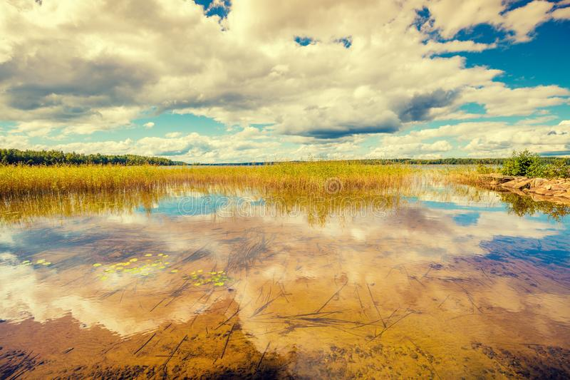 Big beautiful lake on a summer day. ÑŽ Lake in Finland stock photos