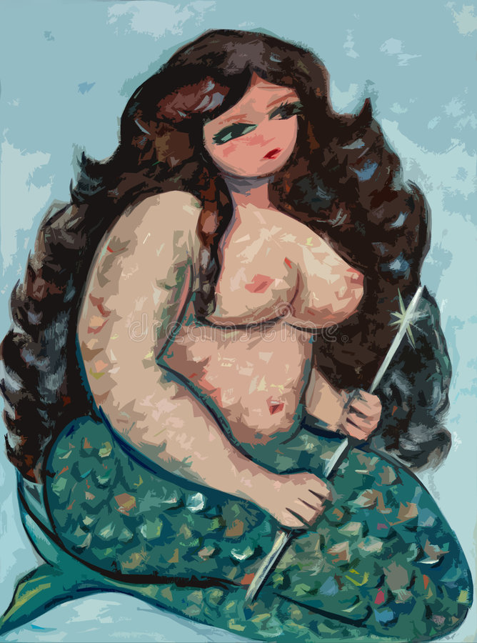 Big beautiful mermaid stock illustration