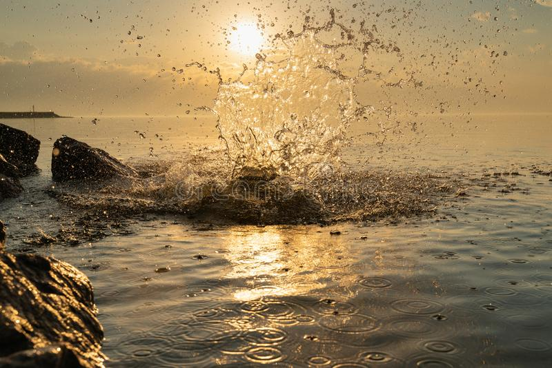 Big beautiful splash of water in the sea at sunset. natural desktop background. Beautiful splash of water in the sea at sunset. natural desktop background royalty free stock photos