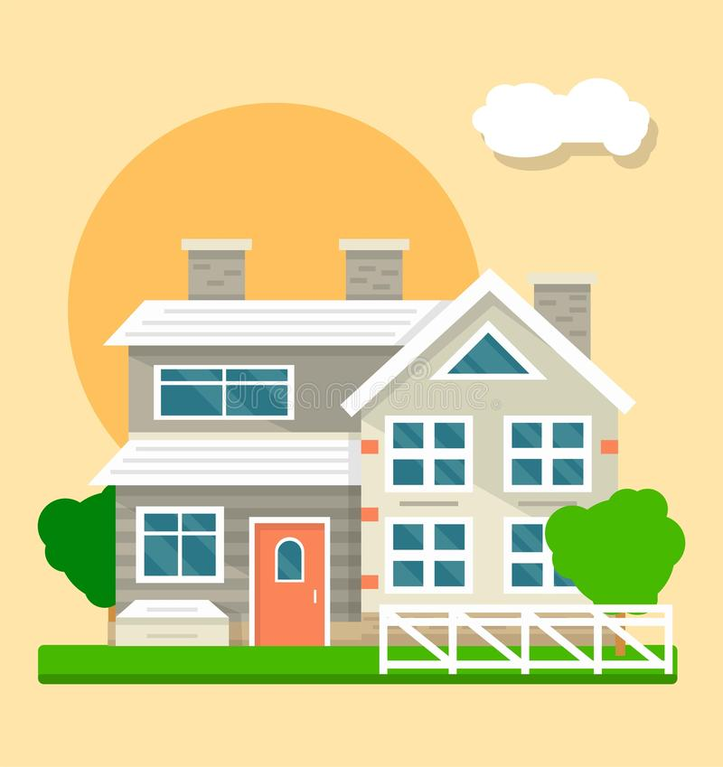Big beautiful two-storied house on sunset or sunrise background stock illustration