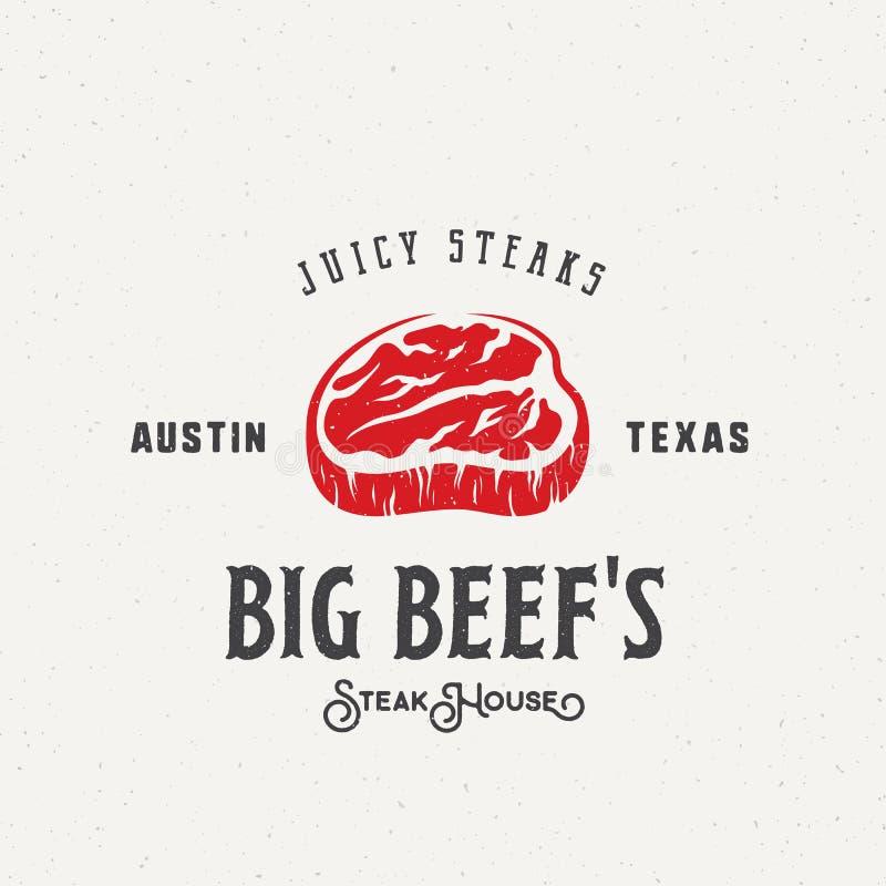 Big Beef Steak House Vintage Vector Label, Emblem or Logo Template. stock illustration