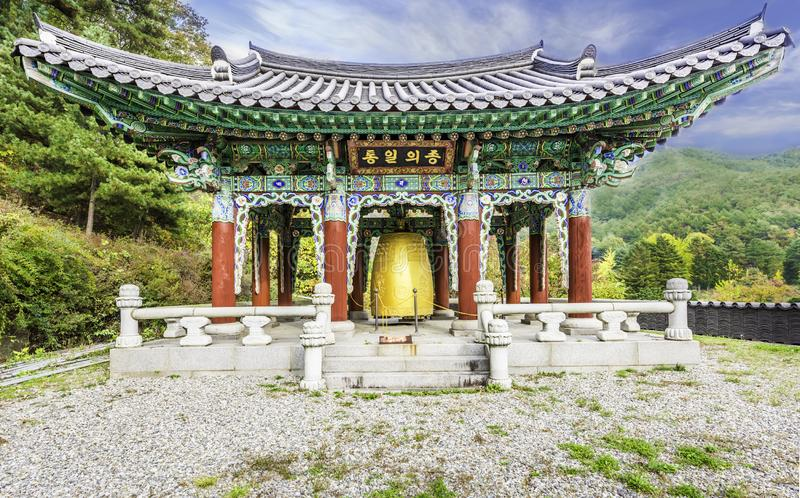 Big bell in Pavilion at Waujeongsa temple South korea royalty free stock image