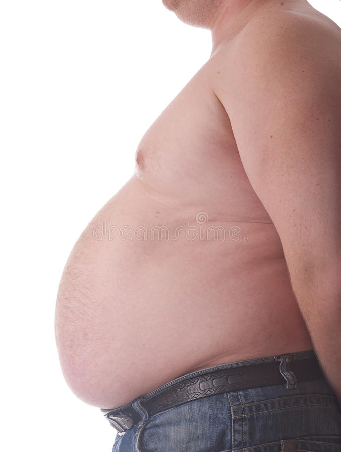 Big belly of a fat man royalty free stock images