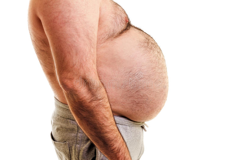 Big belly of a fat man stock photography