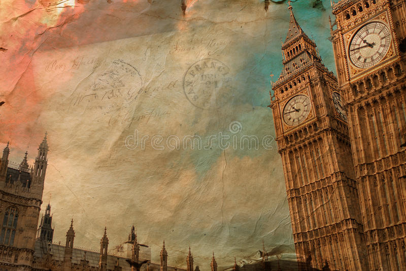 Big Ben, Λονδίνο, ψηφιακή τέχνη, επιστολή διανυσματική απεικόνιση