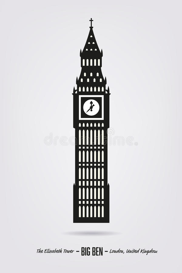 Big Ben, ο πύργος της Elizabeth στο Λονδίνο διανυσματική απεικόνιση