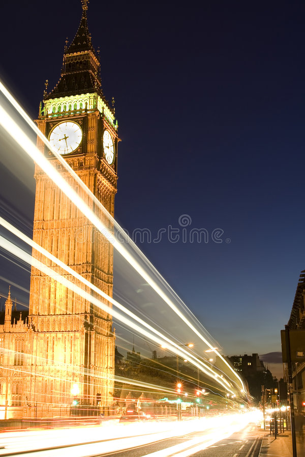 Big Ben. At night with light trails stock photography