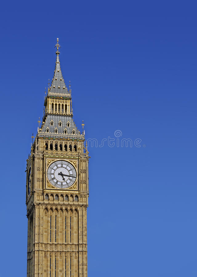 Big Ben. In the summer, clear sky for copy space stock image
