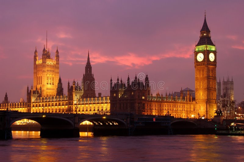 Big ben. And the Parliament buildings at dusk