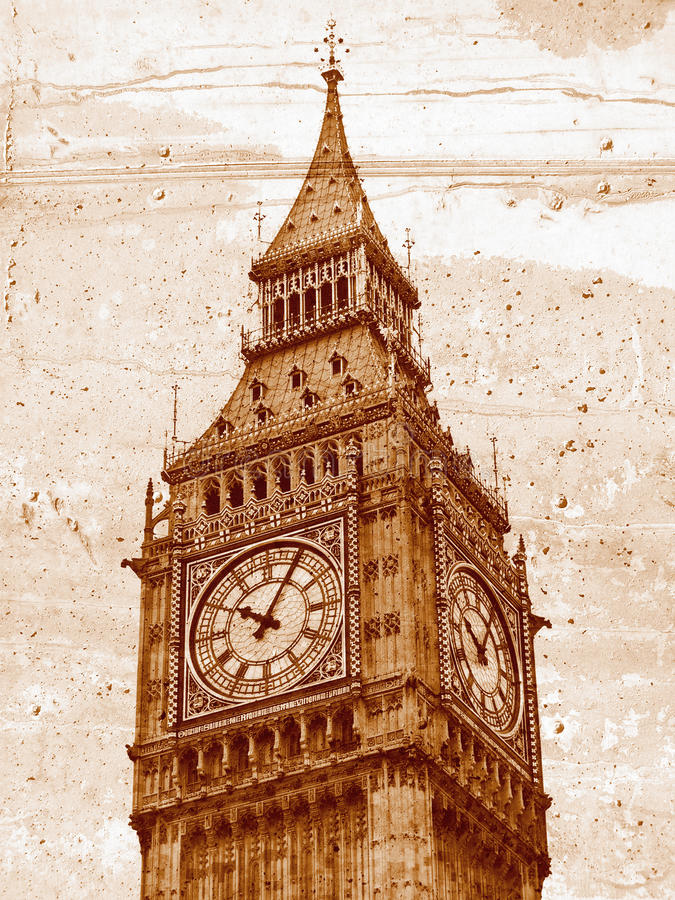Big Ben. Grunge illustration of the Big Ben Houses of Parliament Westminster Palace London gothic architecture stock illustration