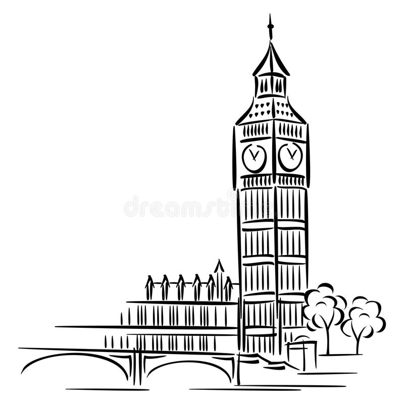 Big Ben. Vector images of Big Ben in London stock illustration