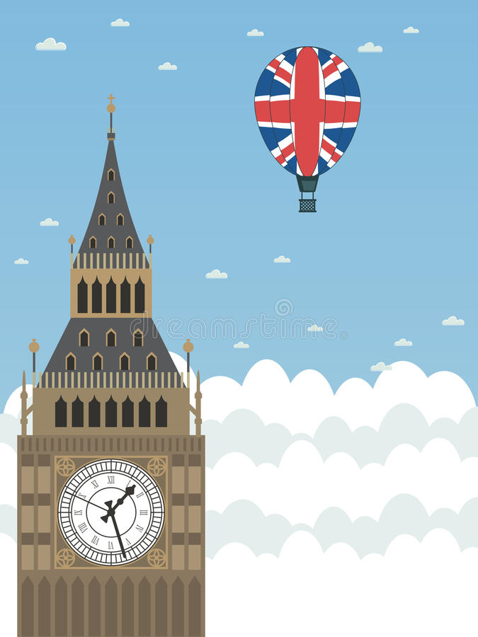 Big ben. In the clouds with union jack hot air balloon royalty free illustration