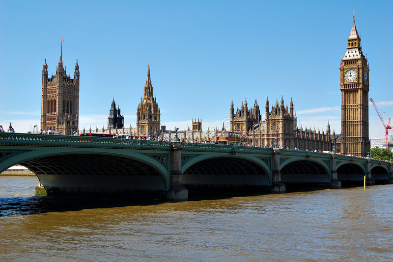 The Big Ben. The Houses of Parliament and Westminster Bridge in a clear day stock photography