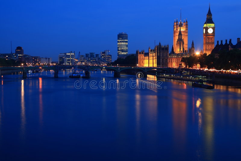 Big Ben. Night shot of Big Ben from the river Thames royalty free stock images
