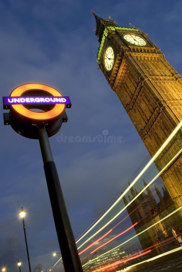 Big Ben. And London underground sign stock photos